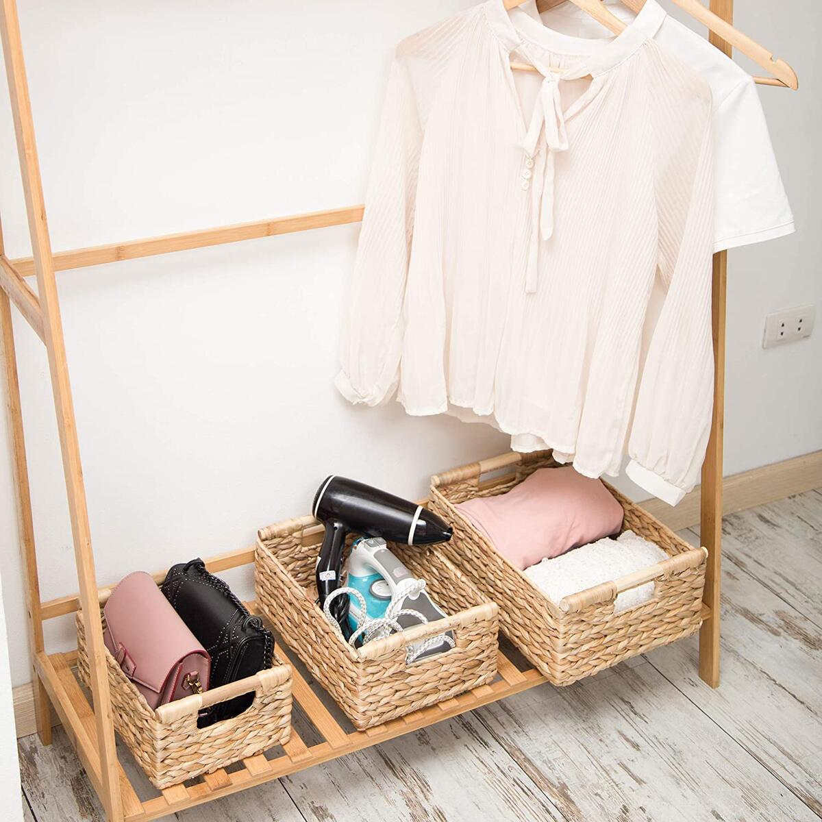 Small Wicker Baskets for Organizing Bathroom, Hyacinth Baskets for Storage, Wicker Storage Basket with Handle, Decorative Baskets Wicker Small 11 x 7.9 x 4.3 inches