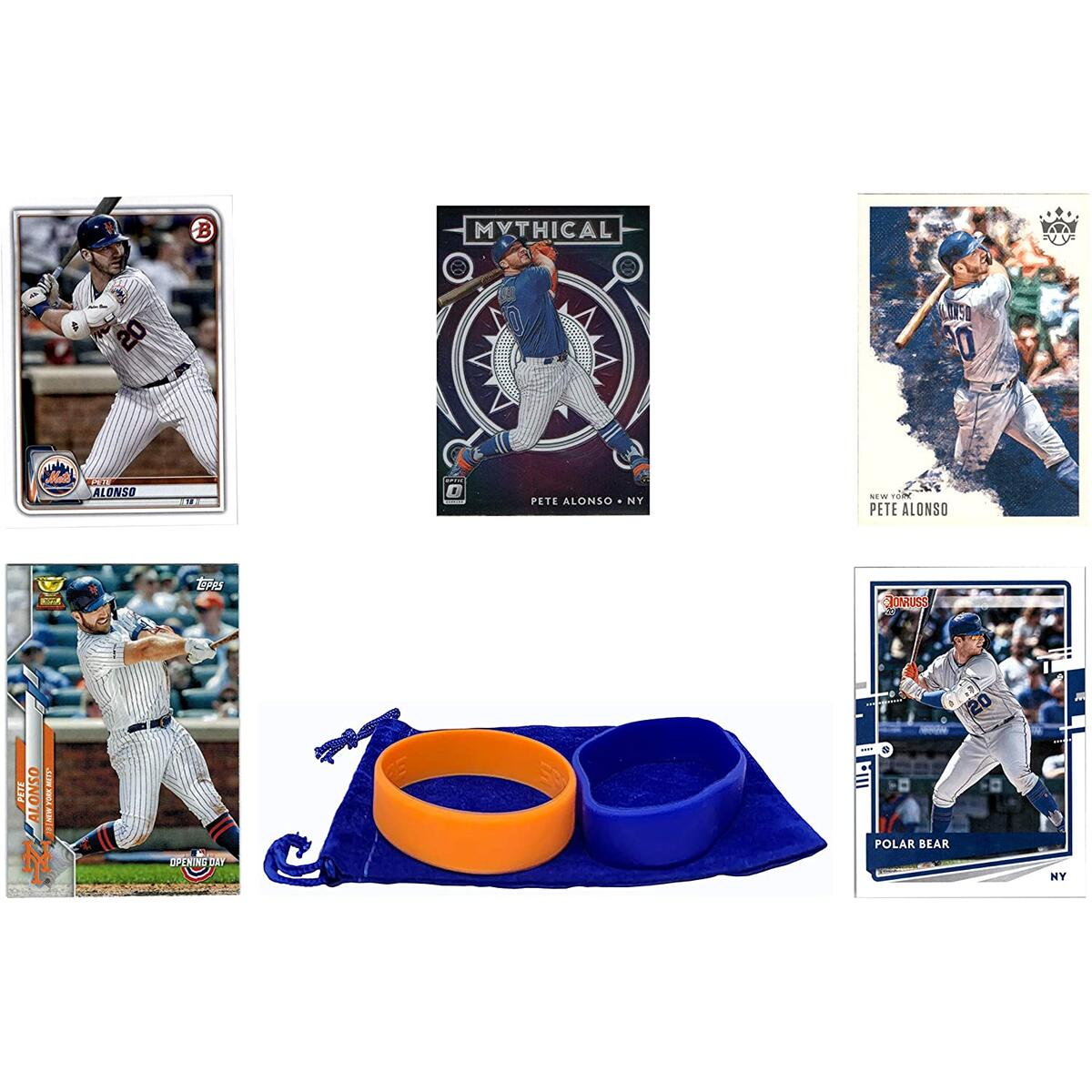 Pete Alonso Baseball Cards (5) ASSORTED New York Mets Trading Card and Wristbands Gift Bundle