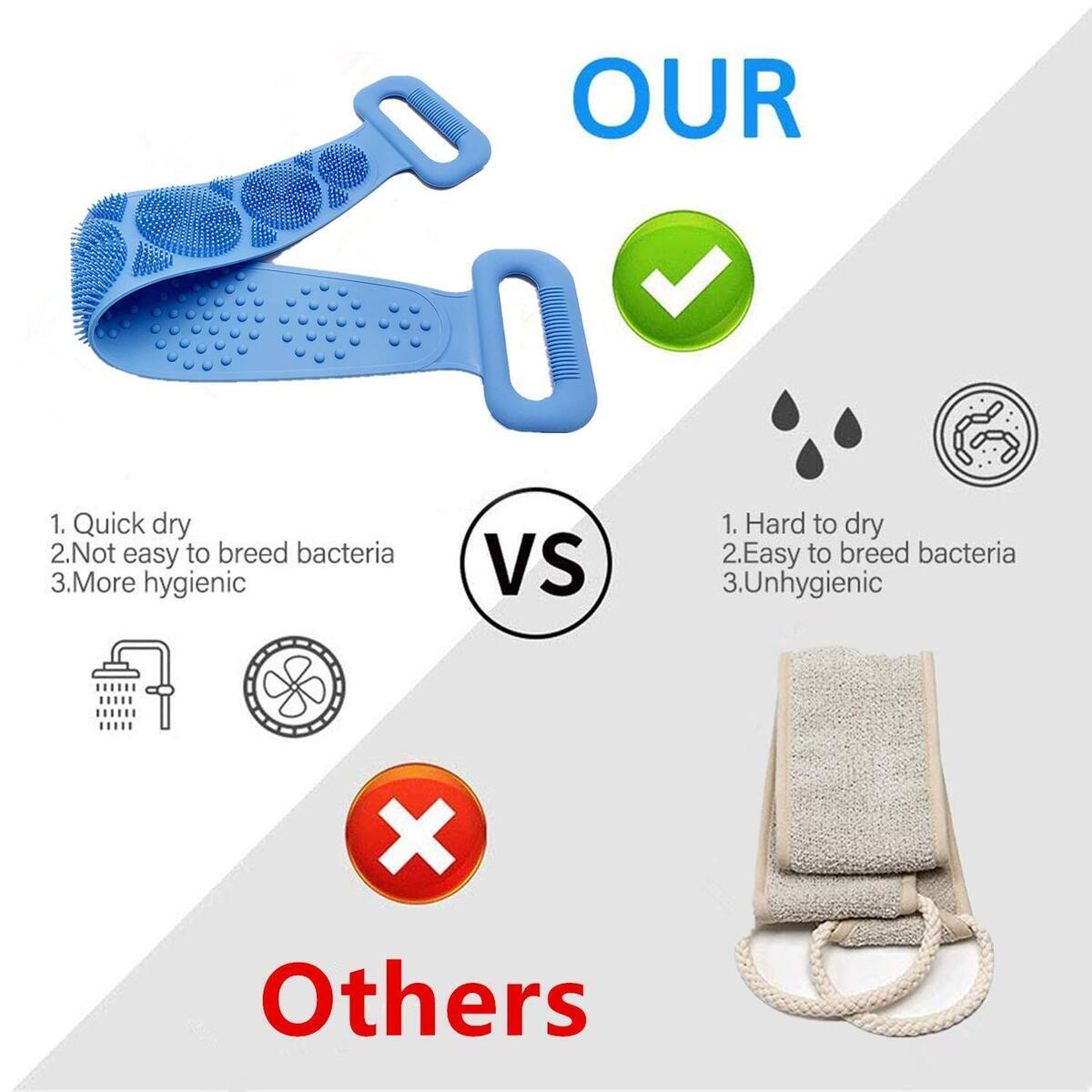 (DON'T USE COUPON!) HCN7 Silicone Bath Body Brush – Exfoliating Silicone Body Scrubber with Soft Tips – Silicone Shower Scrubber for Your Back – Ergonomic Silicone Loofah for Women and Men – Silicon Back Scrubbers - Long