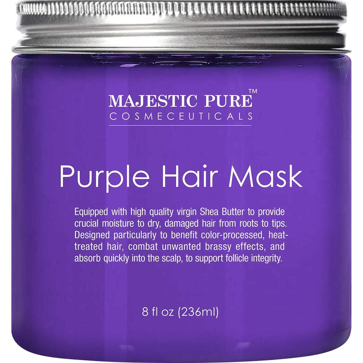 Purple Hair Mask for Blonde, Platinum, Silver Hair, Combat Brassiness, Sulfate Free - 8 fl oz