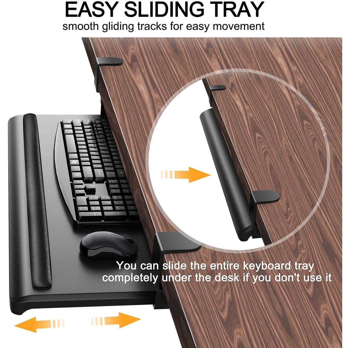 Keyboard Tray Under Desk - QooWare 27.6 x 12.2