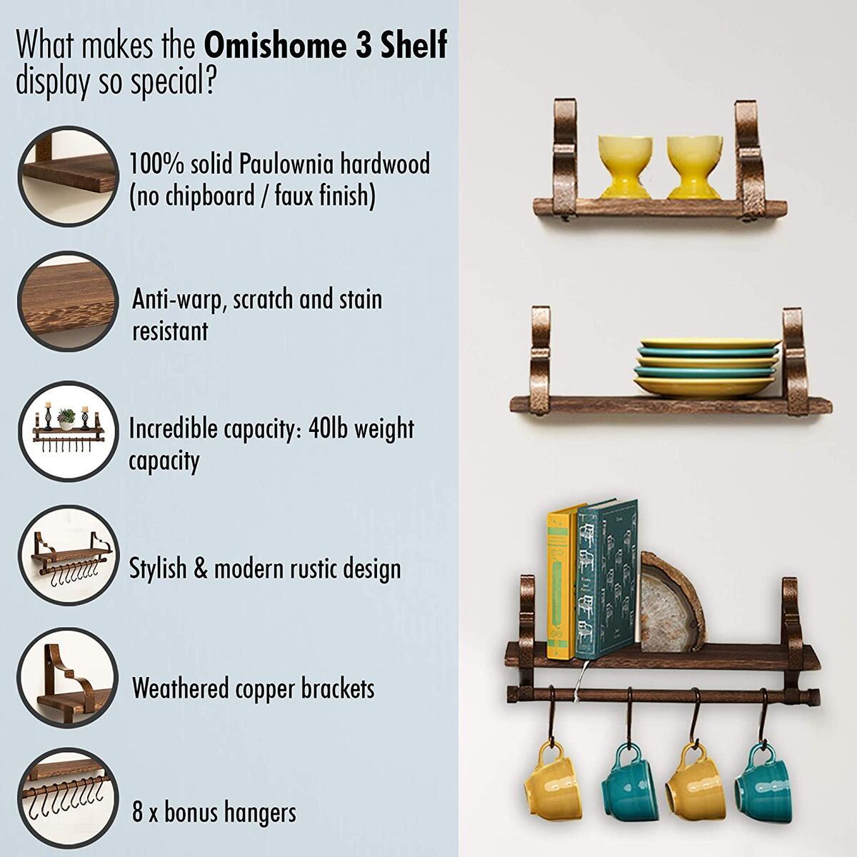 Rustic Floating Shelves with Bonus Towel Bar and Hooks