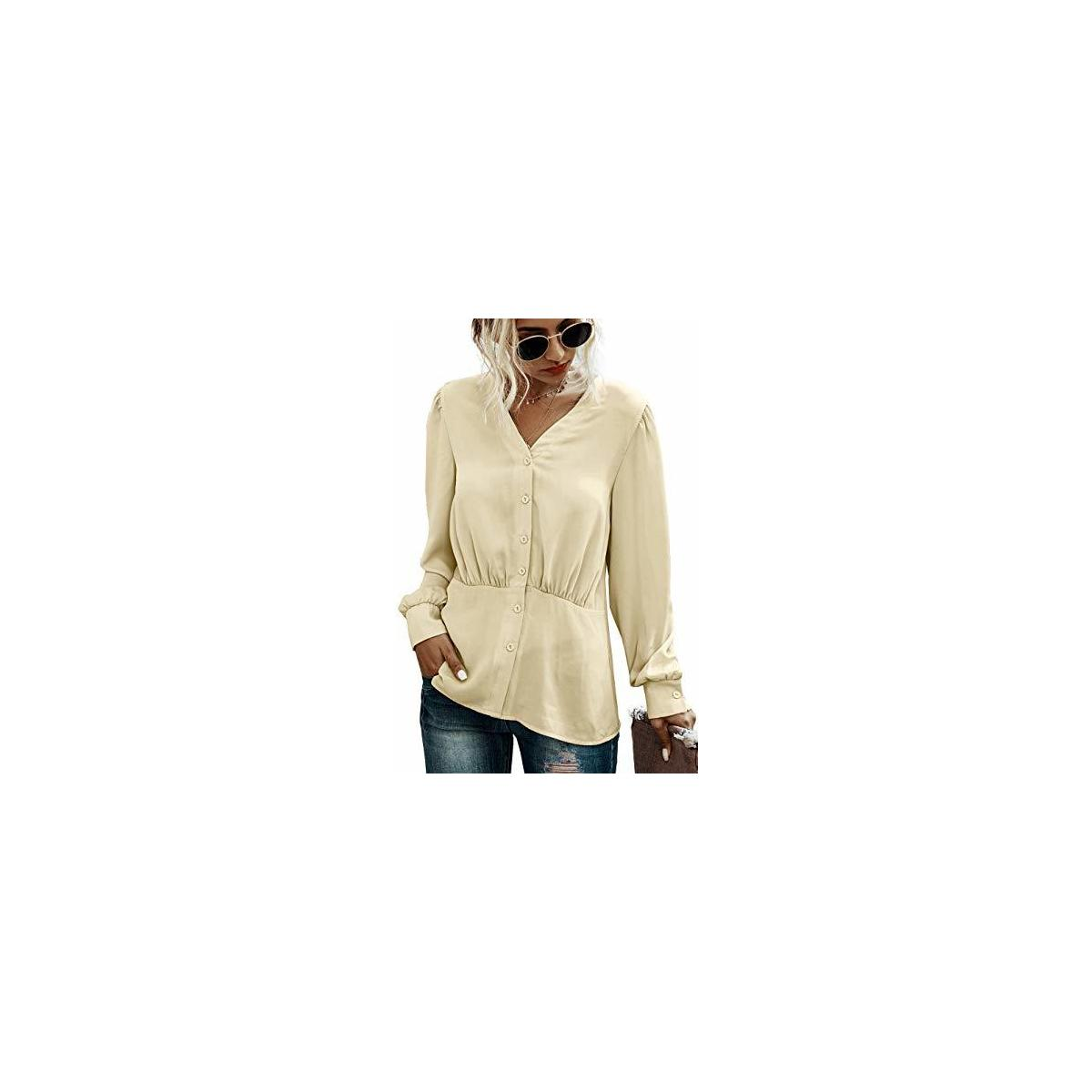 Women's Solid Color Elegant Tops Trumpet Long Sleeve Blouse Loose Tunic V Neck Pleat Shirt