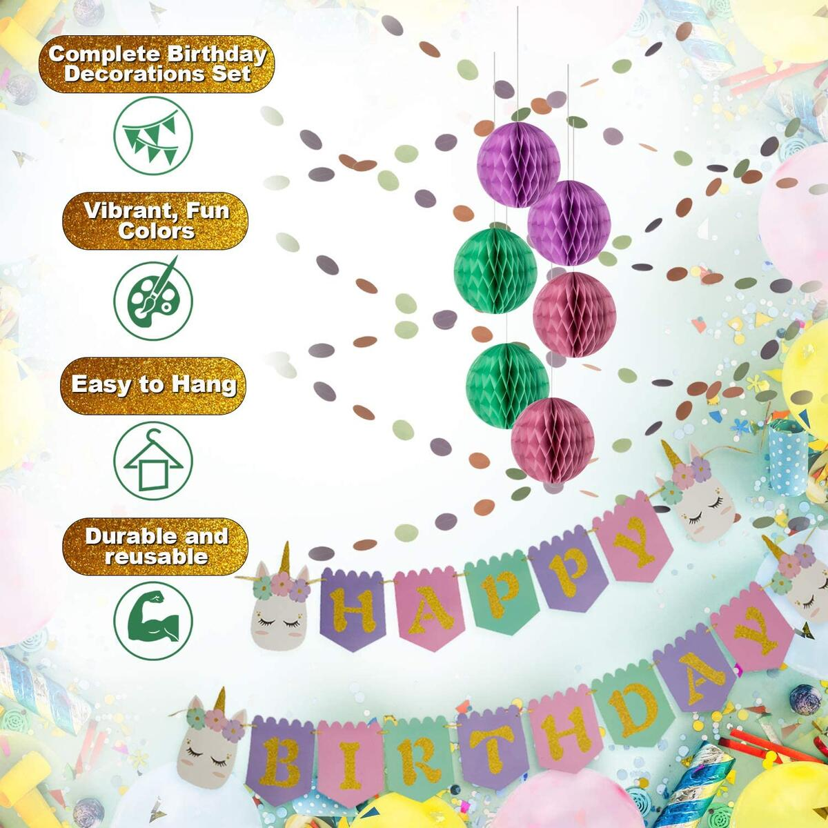 Artistrend Unicorn Happy Birthday Banner Set   Girls B-Day Party Decorations Backdrop with Colorful Sign Honeycomb Balls Swirls Streamers   Its Time for an Unforgettable Birthday Celebration
