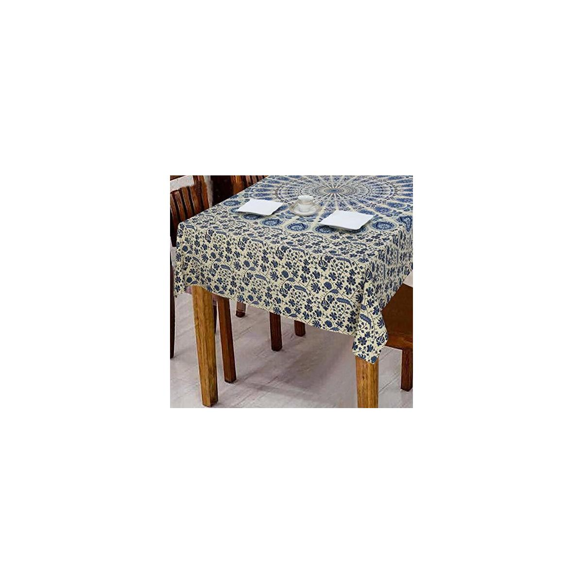 Table Cloth Cotton Linen Dust Proof Oblong Table Cover for Kitchen Dinning Tabletop Decoration (Blue Mandala)