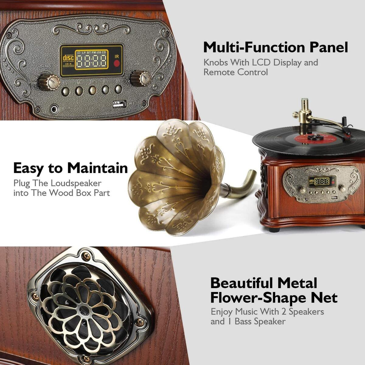 LuguLake Record Player Retro Turntable, All in One Vintage Phonograph Nostalgic Gramophone for LP with Copper Horn, Built-in Speaker and Subwoofer 3.5mm Aux-in/USB/FM Radio