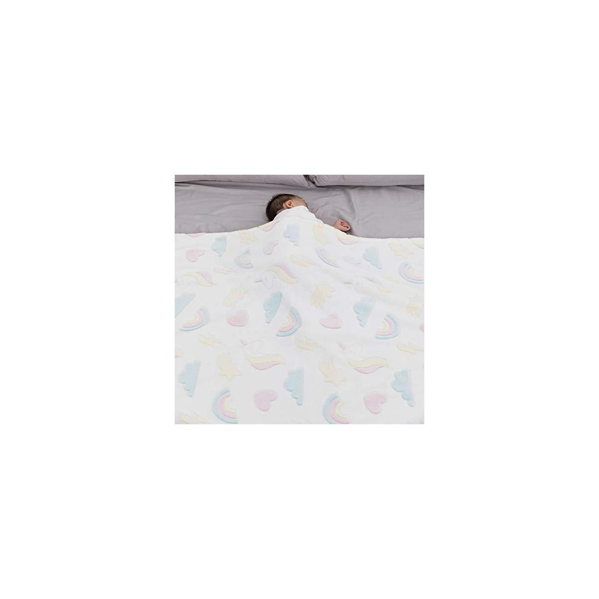 Unicorn Glow in The Dark Throw Blanket - Soft Flannel Cartoon Blanket for Kids and Adults, Decorative Luminous Throw for Bed Sofa Couch Car, 50x60 Inches, Cream