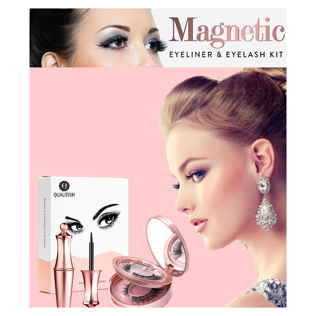 2 Pairs Magnetic Eyeliner and Lashes -Reusable Magnetic Eyelashes & Magnetic Eyeliner with Tweezers Kit, Magnetic Lashes No Glue Needed
