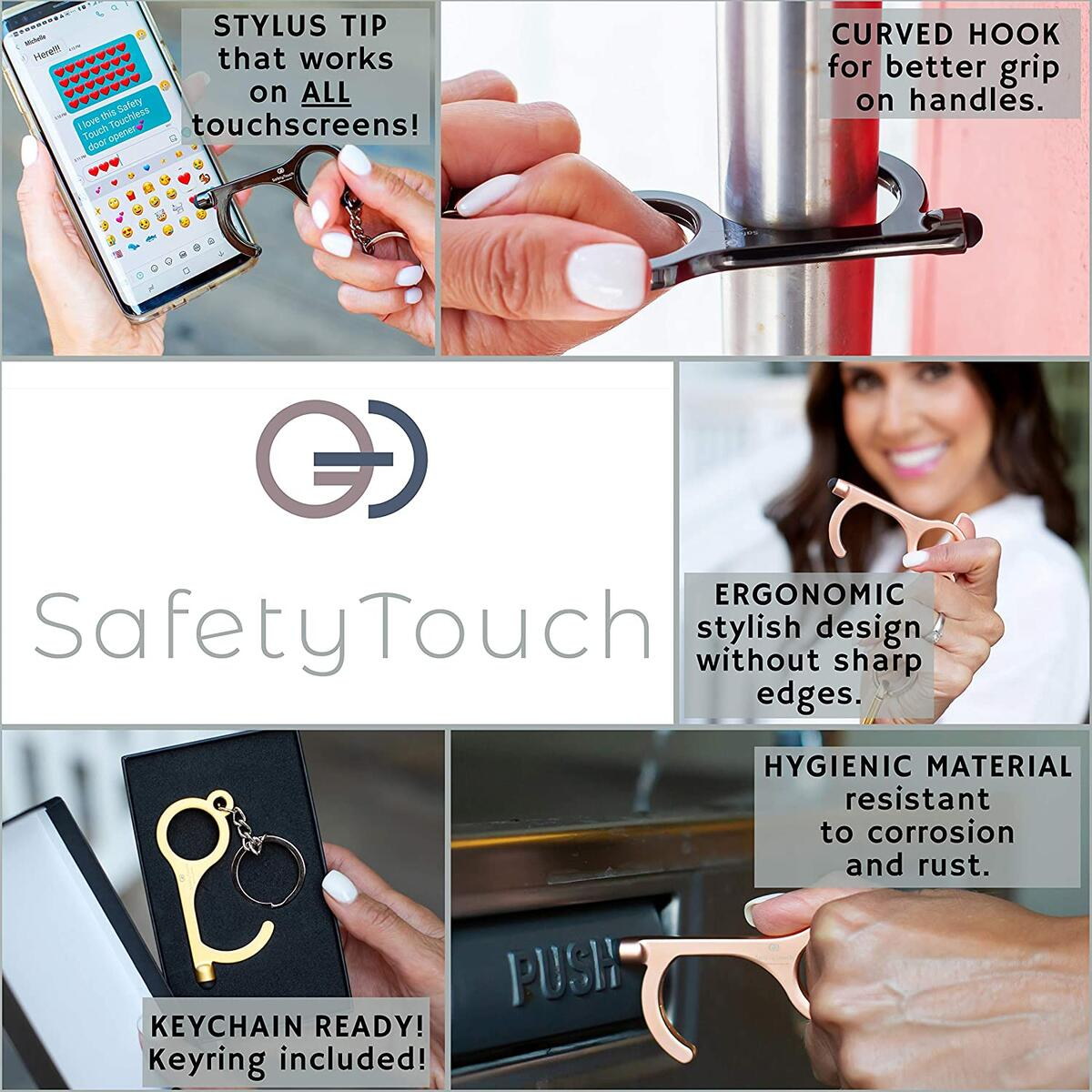 SafetyTouch Touch Free Door Opener Tool. JET BLACK Hygiene Hand for Keychain w Stylus. Clean, No Germ Non Contact for Opening Handle, Touching Screens, Key Pads, Button Pusher. Antimicrobial Hand Tool