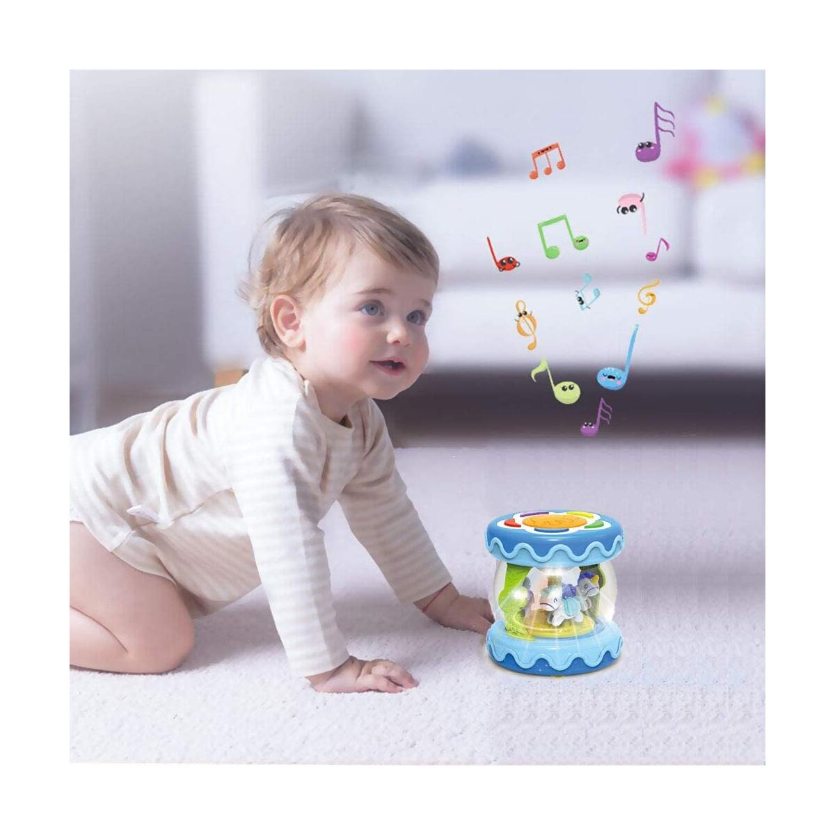 WISHTIME Baby Musical Mini Drum Toy - Educational Learning Toy for Baby Electronic Drum Instruments with Lights for 1 2 3 Year Old Toddlers Kids Boys and Girls Blue