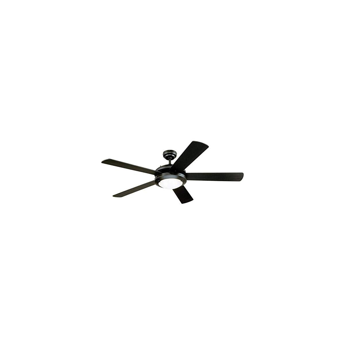 52-Inch Comet Indoor Ceiling Fan in Matte Black Finish with Dimmable LED Light Fixture in Frosted Glass with Reversible Matte Black/Marble Blades