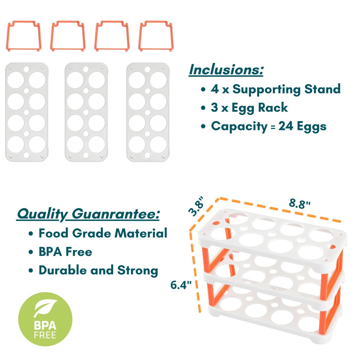 Ease.Life Egg Holder for Refrigerator - 3 Stackable Egg Racks - 24 Eggs - Color White