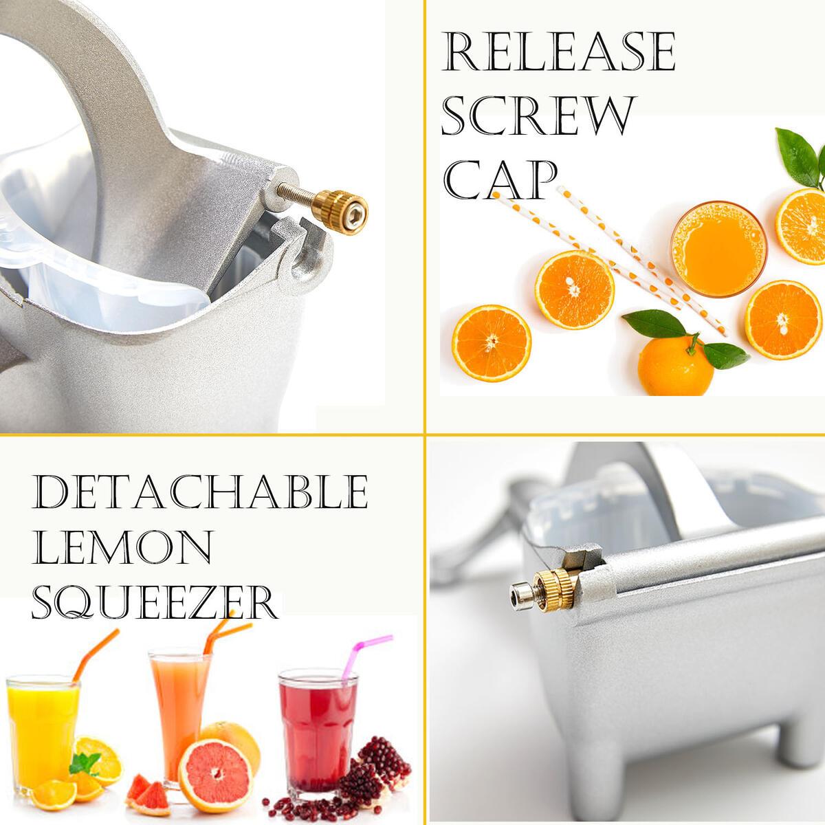 Manual Fruit Juicer With Detachable Liner Hand Press Teflon Citrus Juicer Fruit Juicer Premium Quality Metal Aluminum alloy Lemon Squeezer with 5 pcs Filter Bags and 1 Fruit Clip Silver Manual Juicer, DIDU