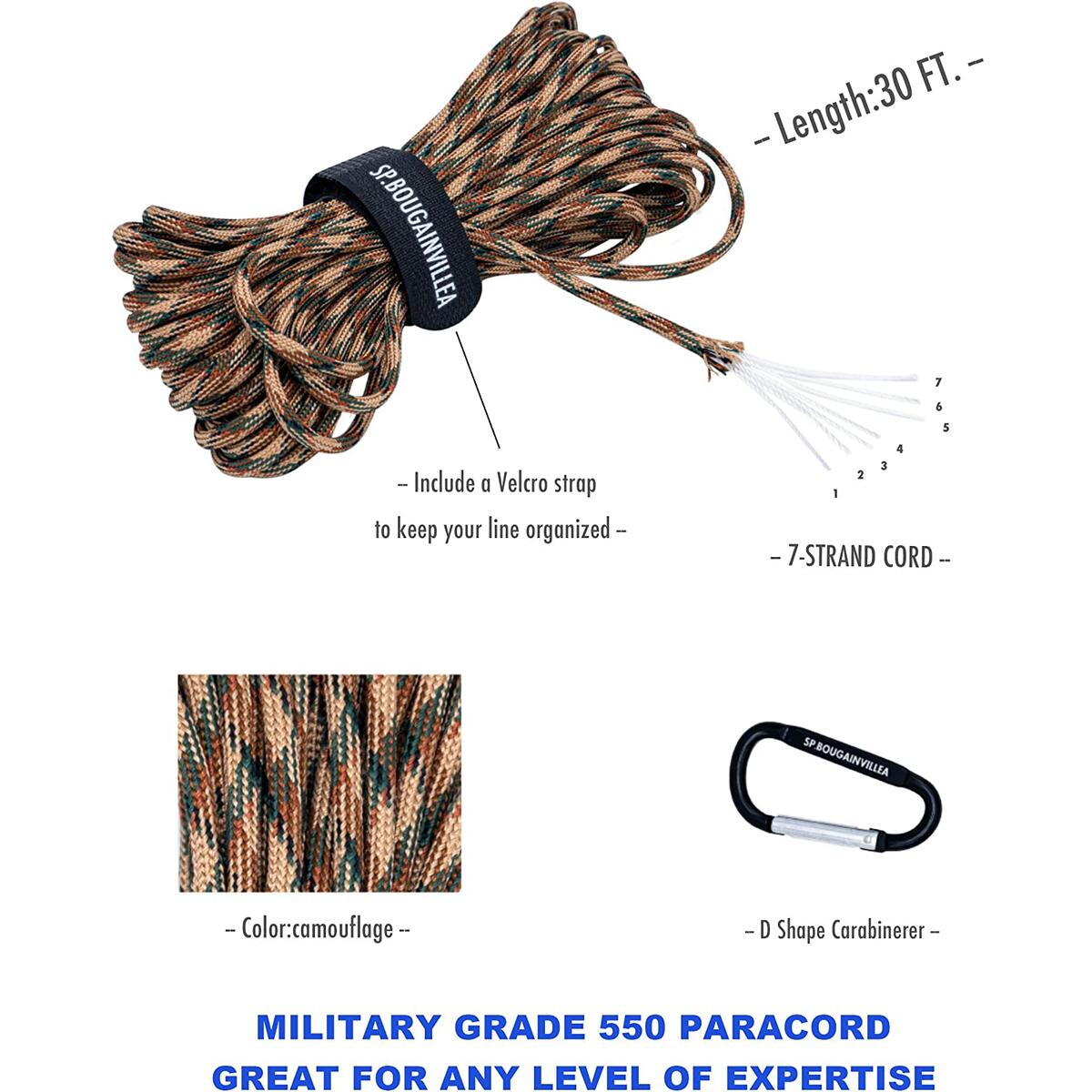 SP.B|Pocket Chainsaw with Paracord 550 Camo Rope and Carabiner |Folding Hand Chainsaw (16teeth-36inch) for Wood Cutting |Portable Survival Kit Fit For Camping Backpack Hiking Garden Work