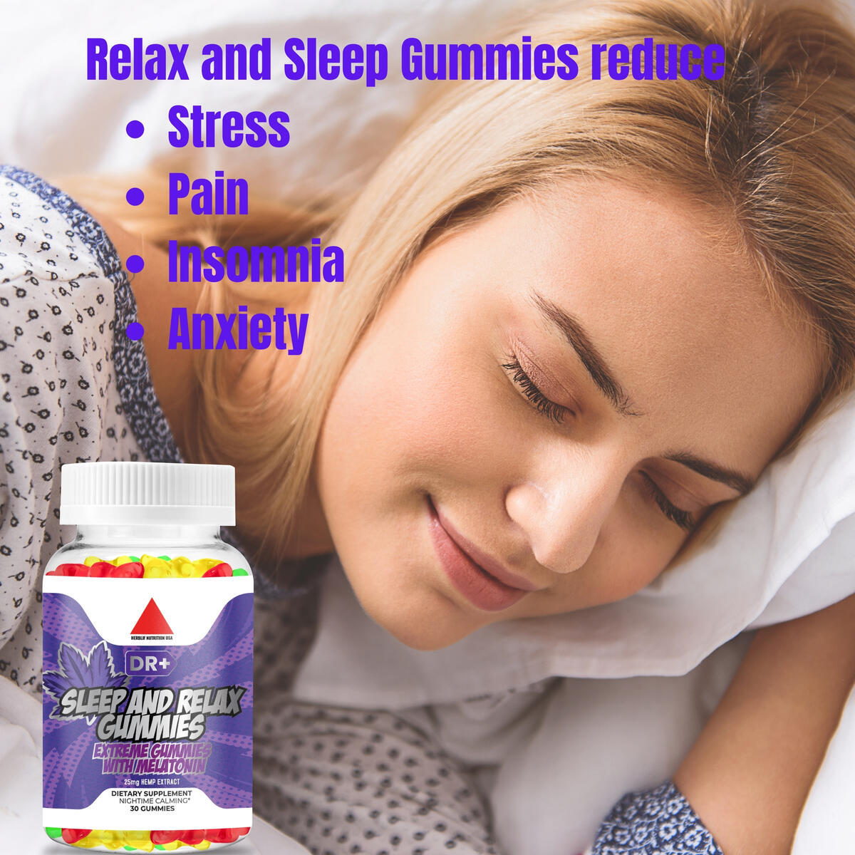Relax and Sleep Gummies Stress, Insomnia Anxiety Relief Tasty Relaxing Premium Herbal Extract Mood Immune Support Omega 3-6-9 Complex Nighttime Calming & Sleep