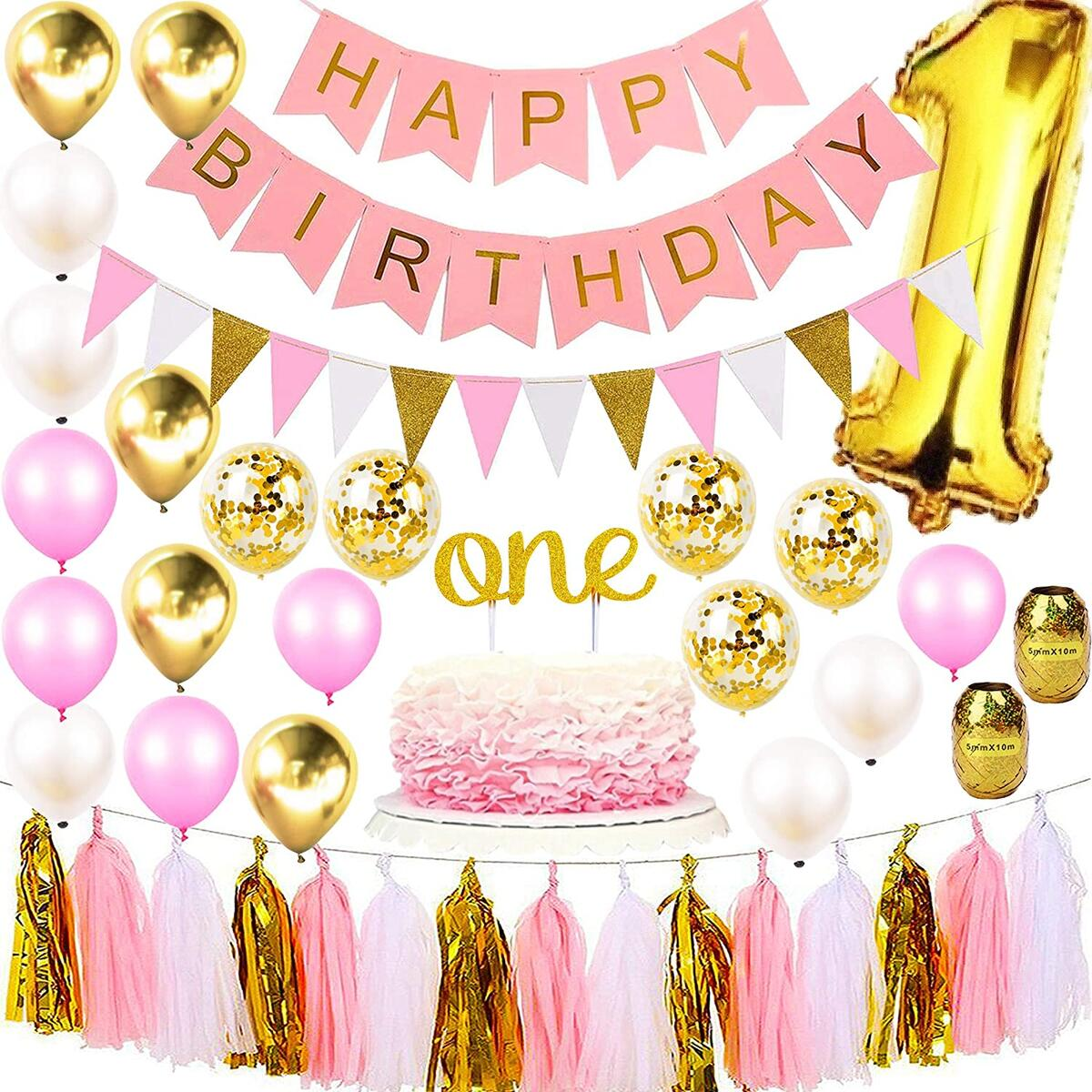 1st Birthday Girl Decorations Premium Party Supplies | Baby Princess First Pink Gold Girls Theme Kit | 1 Year Cake Topper, Happy Bday Banner Number Balloons | Dog, Pig, Cat, Minnie, Bunny, Bambi Set…