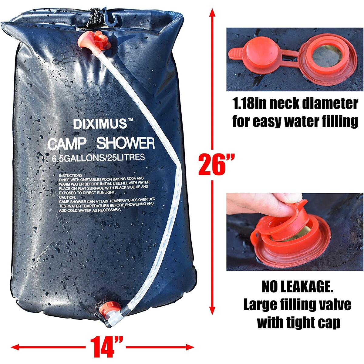 Camping Shower - Outdoor Shower – Solar Shower Bag 6.5 Gallons - 25L - Portable Showers for Camp Traveling Hiking Summer