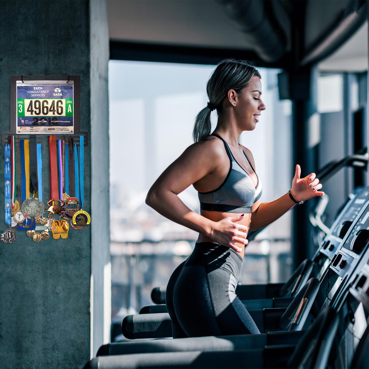 BAZPO Medal Display Hanger for 5K, 10K, 21K, Marathon Runners, Gymnastics, Cheer, Wrestling, Soccer, Football Athletes | Medal Awards Rack Holds 200+ Medals and Race Bibs (8x9 in.) Combined
