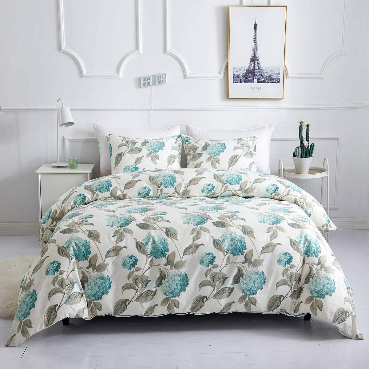 WARMDERN Duvet Cover Set Queen Floral 100% Cotton 3 Pieces Green Flower Plant Soft Breathable Lightweight Bedding Set with Zipper Closure Corner Ties, 1 Comforter Cover and 2 Pillowcase (Queen,Green)