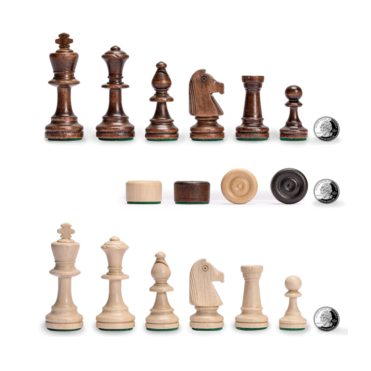 Husaria Large European Wooden Chess and Checkers Multi-Game Set, 19.7 Inches - with Foldable Board, Handcrafted Playing Pieces and Felt-Lined Storage