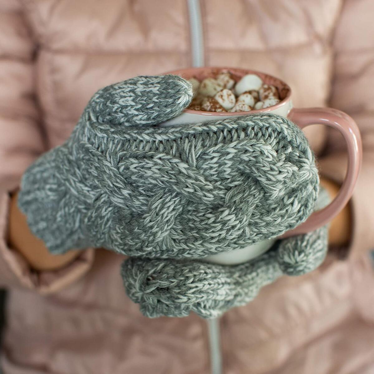 Mittens for Women Soft and Cozy for Cold Weather Wool Knit Womans Winter Mittens Warm Gloves (Grey White Mix)…
