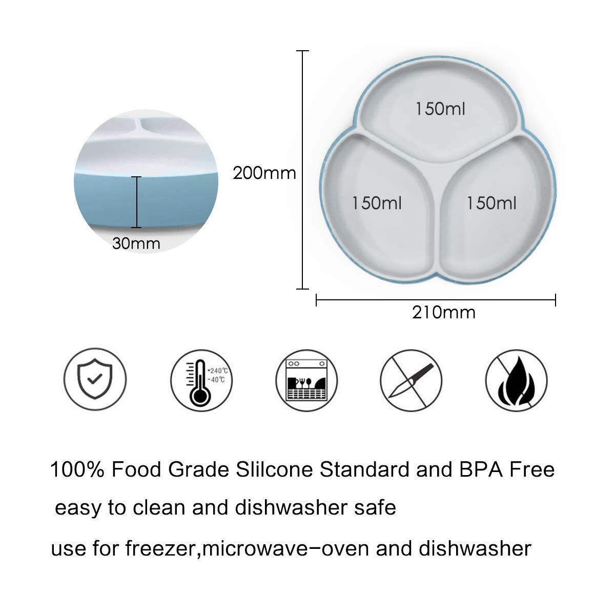 Silicone Suction Baby Plates - SILIVO Non Slip Toddler Plates for Babies, Kids and Children, Microwave & Dishwasher Safe – Blue/Gray