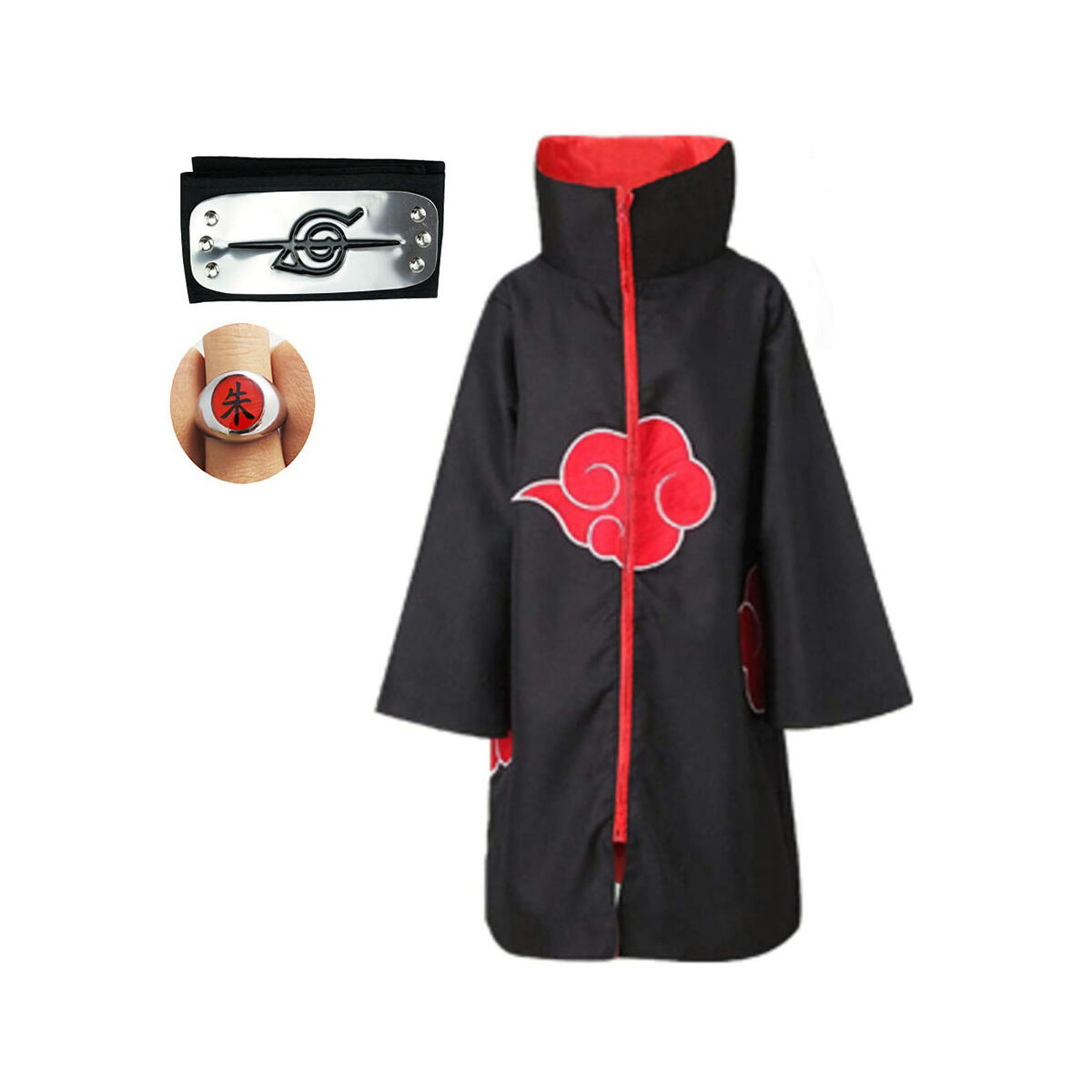 Akatsuki Cloak Costume 3Pcs with Headband and Ring, Itachi Cosplay Costume