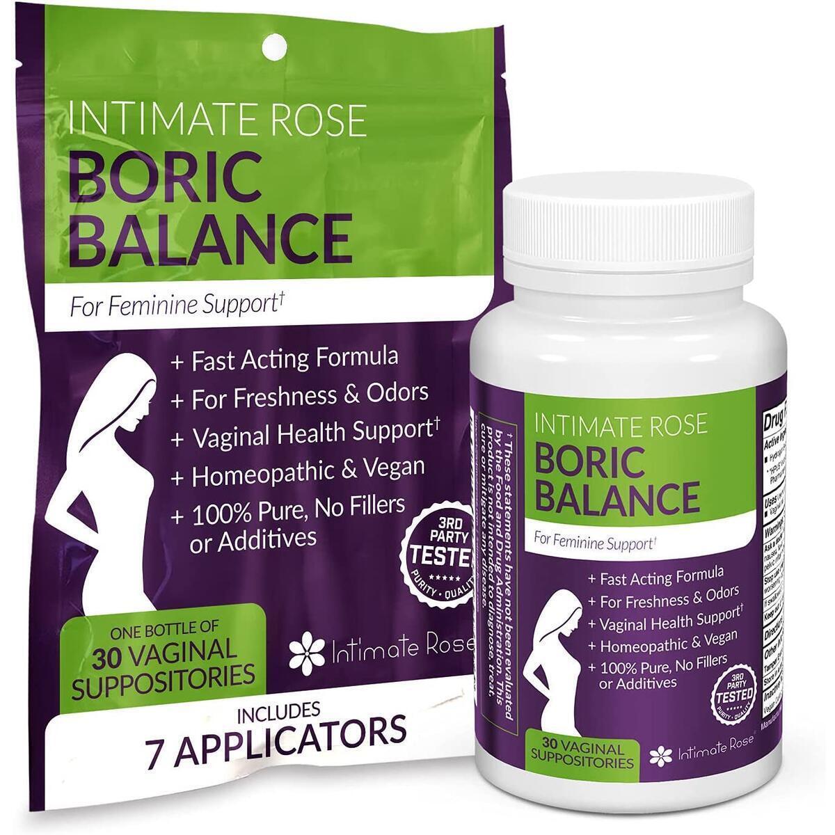 Boric Acid Vaginal Suppositories - 30 BV Treatments + 7 Applicators