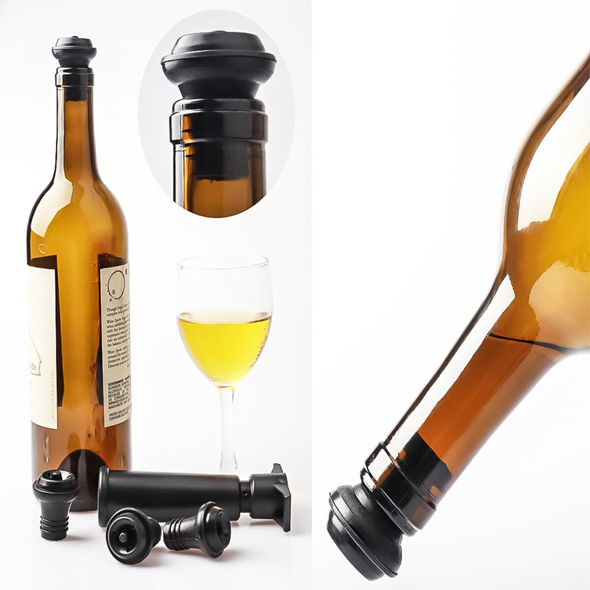 Wine Accessory Set With Wine Saver Vacuum Pump and 3-in-1 Corkscrew