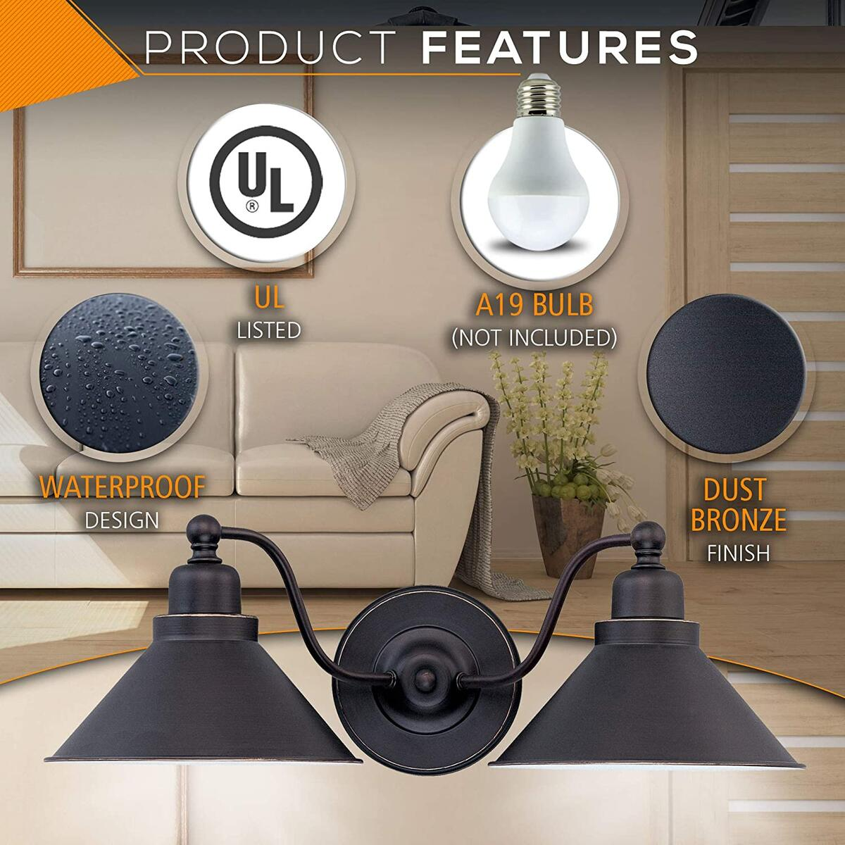 One Light Wall Sconce, Vanity Light, Transitional Style Downlight, with Mission dust Bronze Finish and Metal Shade