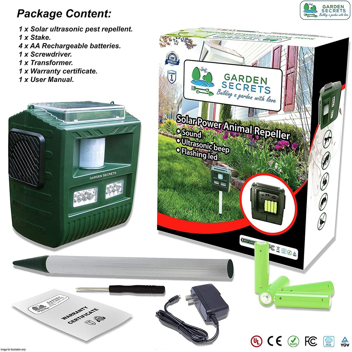 GARDEN SECRETS 3-in-1 Professional ULTRASONIC ANIMAL REPELLENT, Deer Raccoon Rabbit Skunk Possum Bear etc. deterrent, Keep the pests away from your property within 2-4 weeks, whole year full warranty!