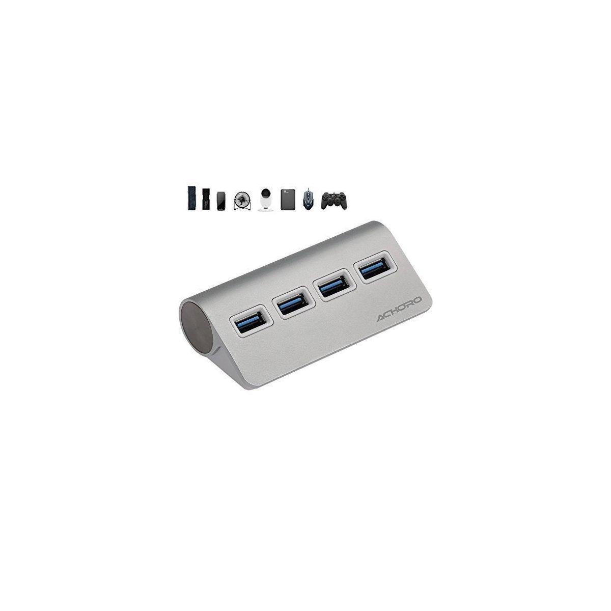 USB Hub 3.0 High Speed Data Transfer - Premium Quality 4 Ports USB HUB Adapter - Compatible with MacBook, Windows, iMac, USB Flash Drive, Hard Drive, PC, and More