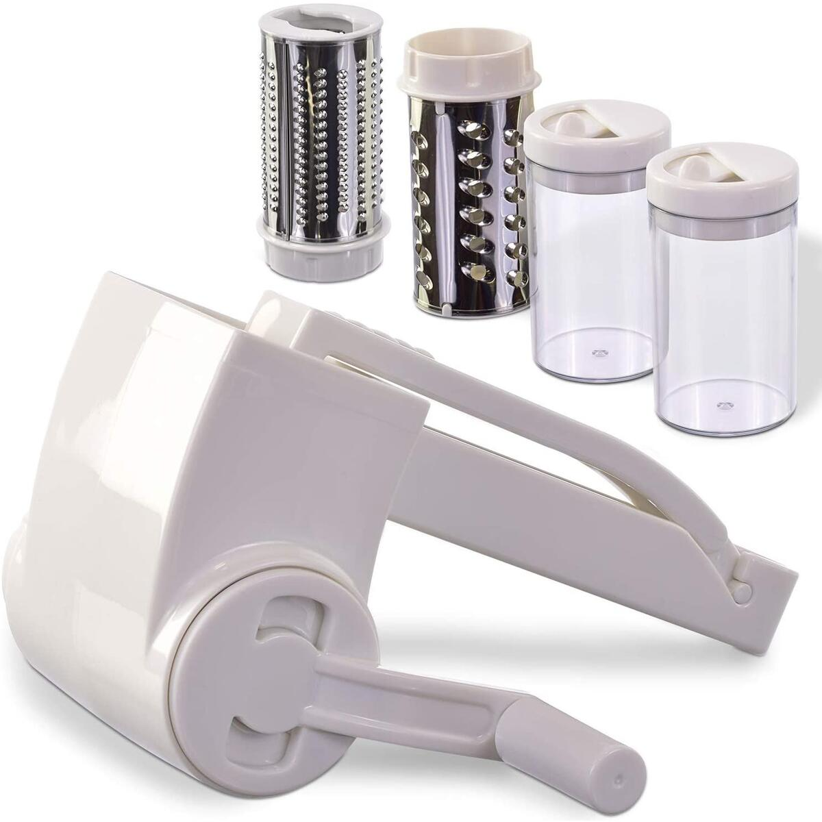 Limit 1 Per Amazon Account - Vivaant Professional-Grade Rotary Grater - 2 Stainless Steel Drums - Grate Or Shred Hard Cheeses, Vegetables, Chocolate, And More - Award-Winning Design And Heavy-Duty Build Quality Lasts A Lifetime!