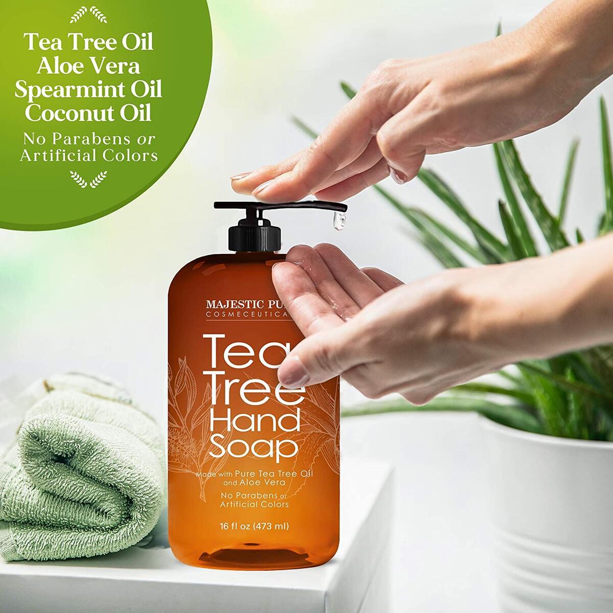 Tea Tree Hand Soap - Liquid Hand Wash with Pure Aloe Vera, Rosemary & Spearmint - Hand Wash with Pump - Sulfate Free Formula -16 fl oz