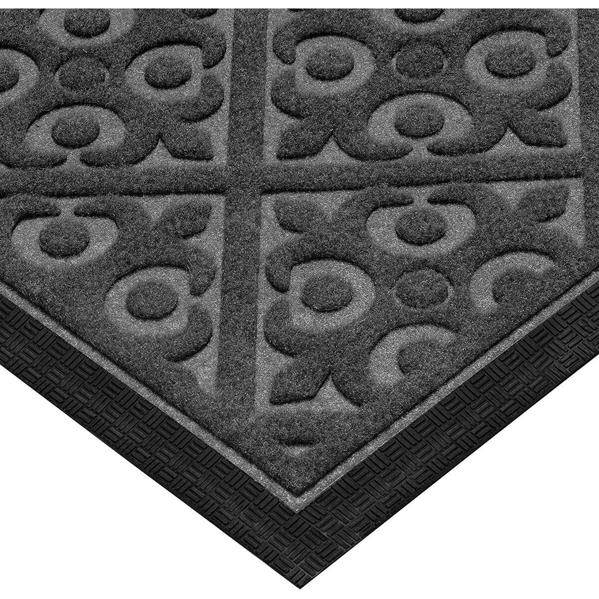 Door Mat Indoor Outdoor - Ideal Welcome mat or Front Door Mats - Entry Rug for Inside Outside - Non Slip Slim Profile Doormat - Traps Dirt Patio Grass Snow Mud Grit - Size 17.5 x 27 Inches - Gray