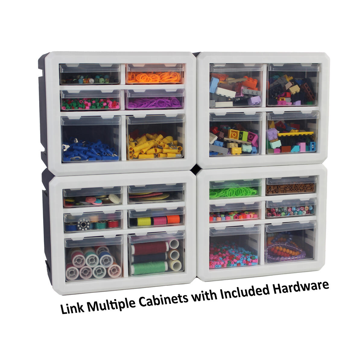 Bins & Things Mini Desk Craft Organizer 6 Small Drawers with Removable Dividers, Arts & Crafts Parts, Teacher Toolbox Organizer, Sewing Craft Cabinet, Hardware Organizers (9.25 x 5.5 x 7.75)