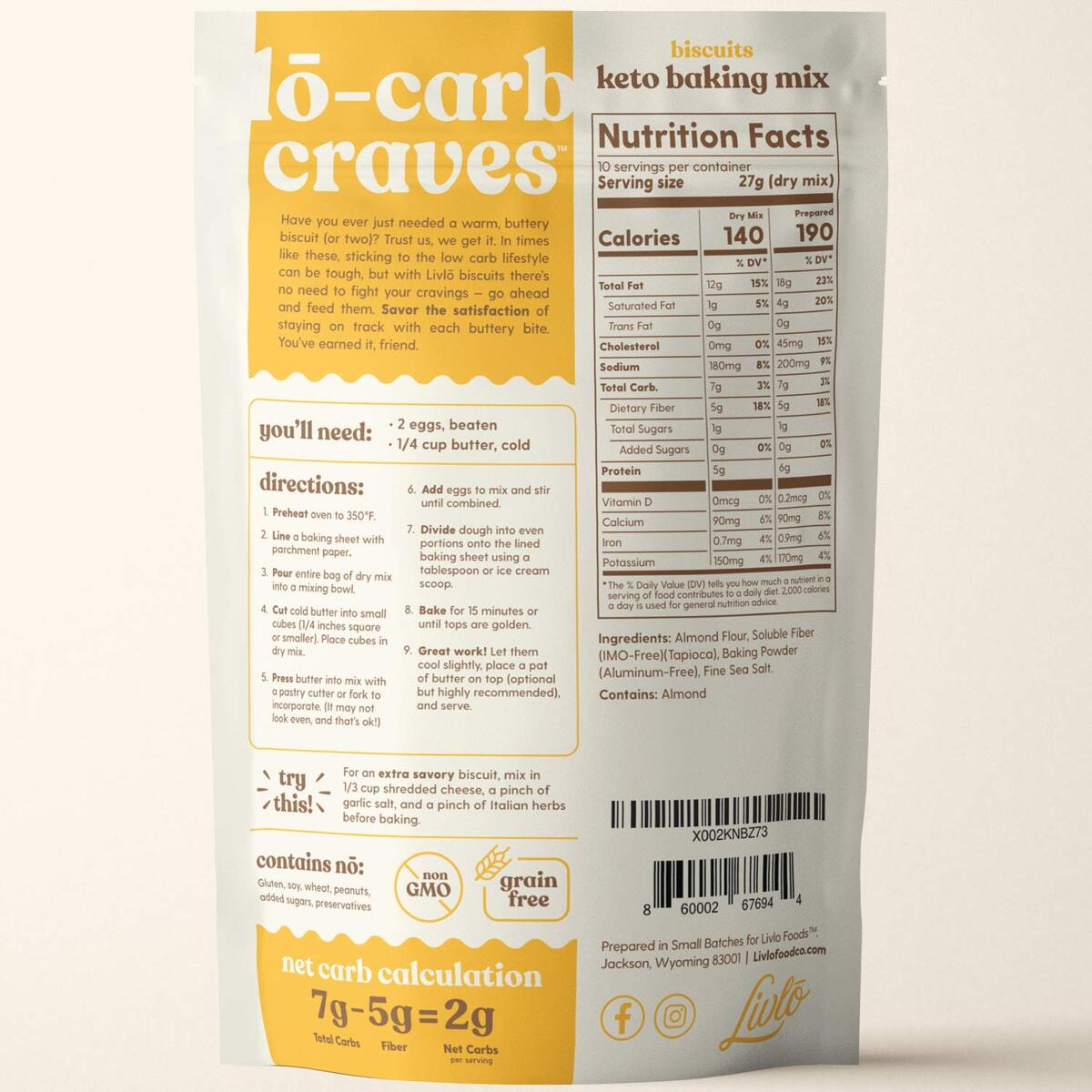 Keto Biscuit Mix - Low Carb & Gluten Free Baking Mix - 2g Net Carbs - Fast, Easy and Delicious Keto Friendly Food - 10 Servings - Classic Butter