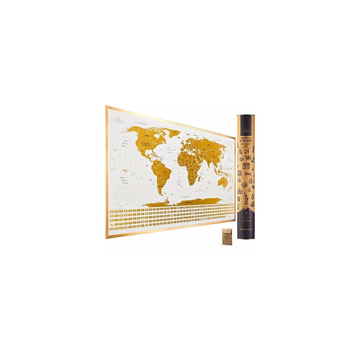 Large Scratch Off Map of The World with Flags - 24x17 inches Scratch Off World Map Wall Poster with US States & Flags - Original Travel World Scratch Map, Travel Decor, Designed for Travelers