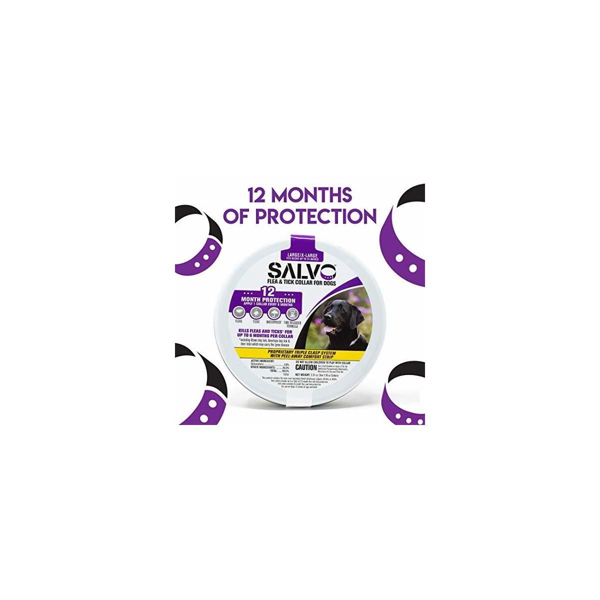 SALVO Flea and Tick Collar for Dogs - Large - Pack of 2 for 12 Months of Protection - Waterproof, Durable Collar Fits Necks Up to 25 Inches