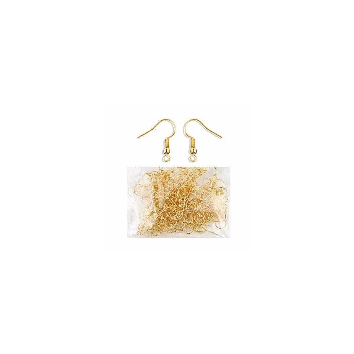 100 Pairs Gold Earring Hooks, Jewelry Findings Making for DIY,Earring Hooks Fish Hook Earrings French Wire Hooks Jewelry Findings Earring Parts DIY Making