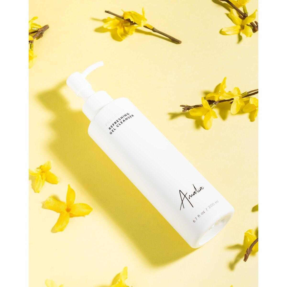 Amalia Refreshing Gel Cleanser - Natural Exfoliating Face Cleanser with Pineapple Enzyme, Green Tea & Acai - Gentle for Sensitive Skin