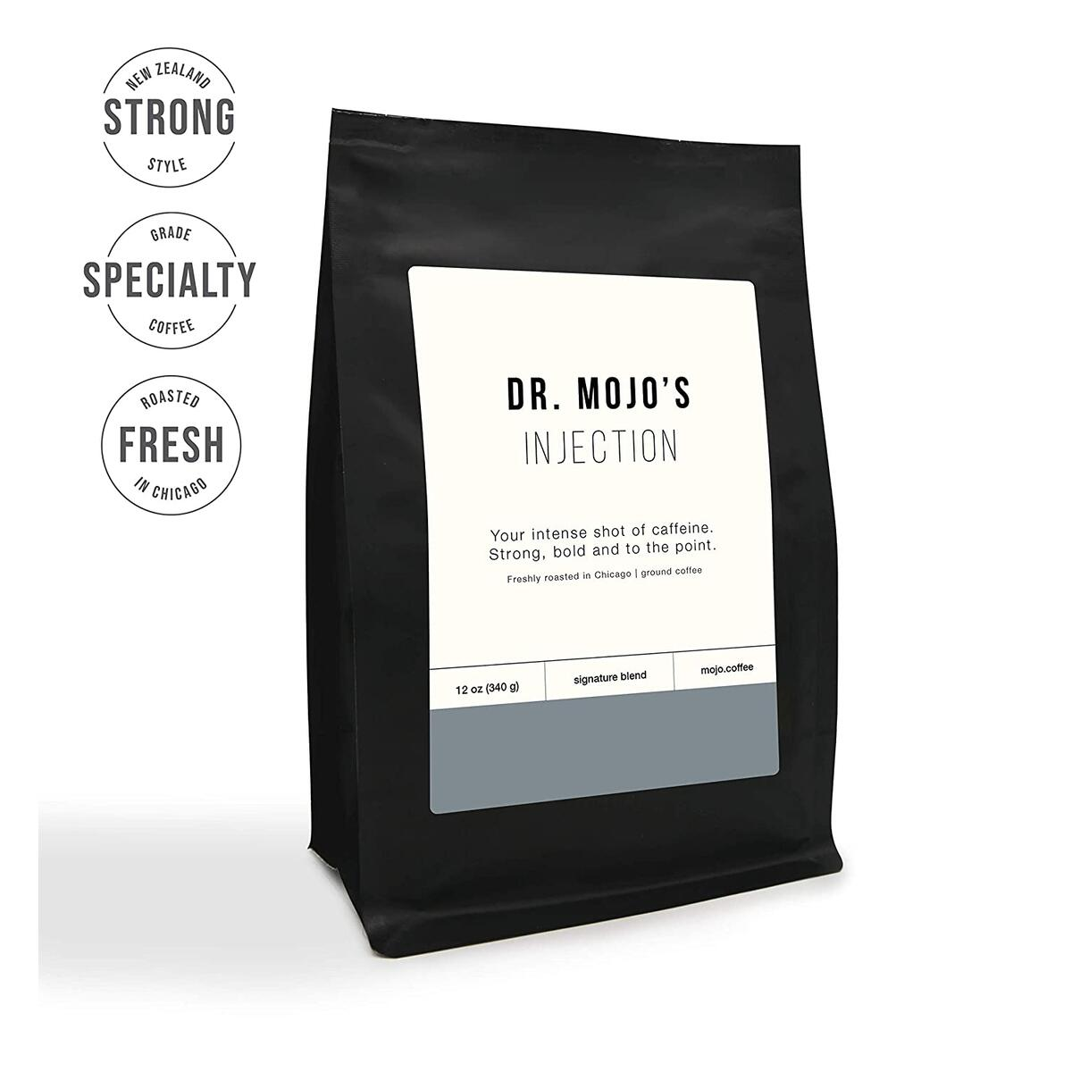 Medium Roast Bold, Dr Mojo Coffee Roasters Injection Blend, Ground Coffee, 12 oz.