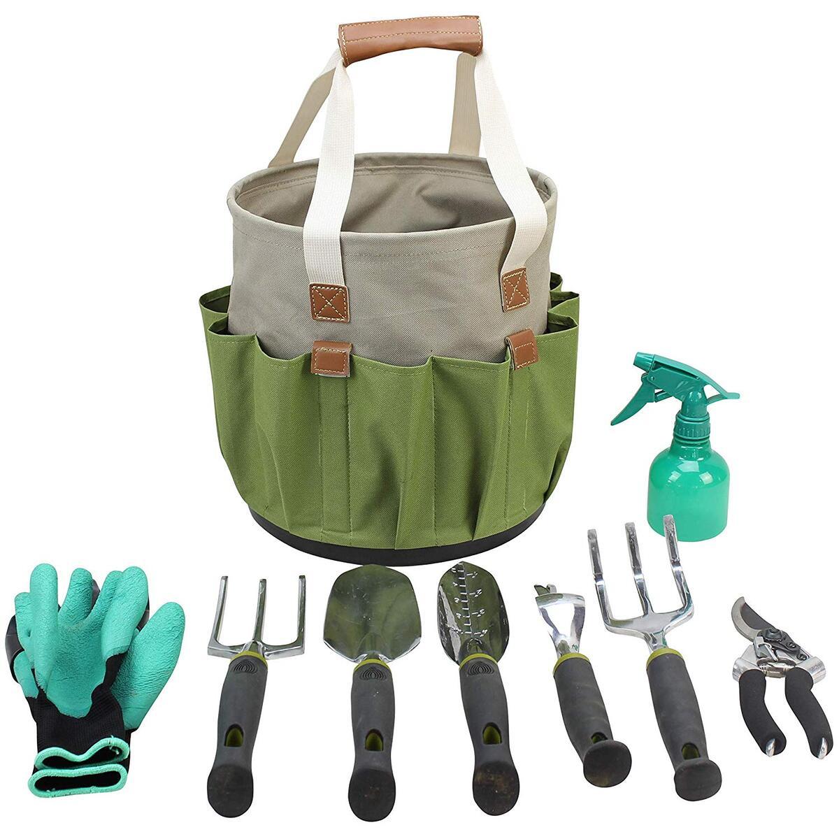 Garden Tools Set | Gardening Gifts | Gardening Tools Set | 9 Piece Garden Tool Set | Digging Claw Gardening Gloves Succulent Tool Set | Planting Tools | Gardening Supplies Basket | Rake Gloves …