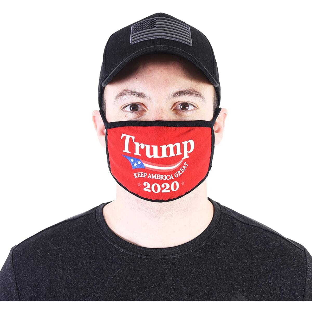 Trump Mask 2-PACK | Trump 2020 MAGA Army Face Mask Patriotic Military Donald Trump Reusable Breathable Washable Cloth Fabric Balaclava Bandanna Neck Gaiter Men Women Funny Face Mask for Adults (Red)