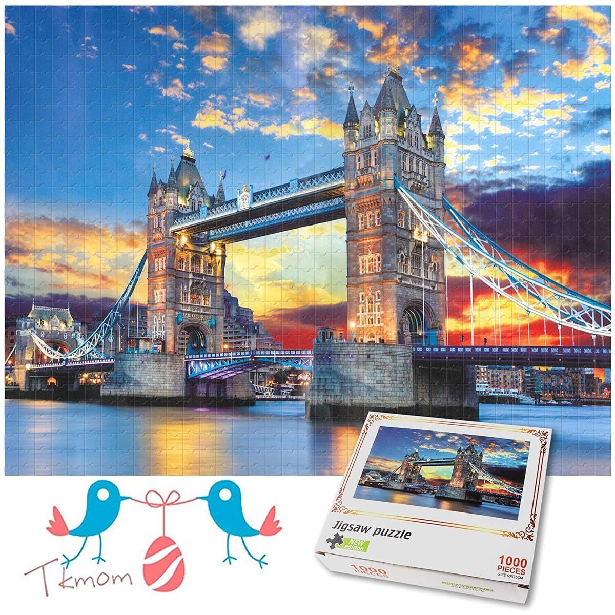 TKmom 1000 Piece Puzzles for Adult,Jigsaw Puzzle London Tower Bridge Educational Intellectual Decompressing Fun Game Gift
