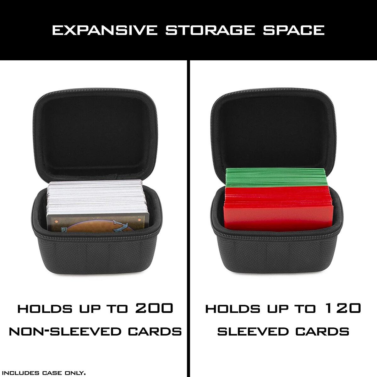 CASEMATIX Card Deck Box for Up to 200 Cards - Hard Shell Playing Card Case with Non-Scratch Fabrics and Metal Carabiner