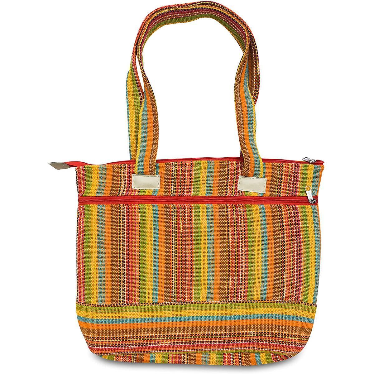 Colorful Handmade Bag - Cotton Shoulder Bag - Boho Hippie Bag For Women - Lightweight, Durable Handbag for Tablet, Laptop, Books, Wallets - Casual Boho Style Satchel for Travel, Work, School