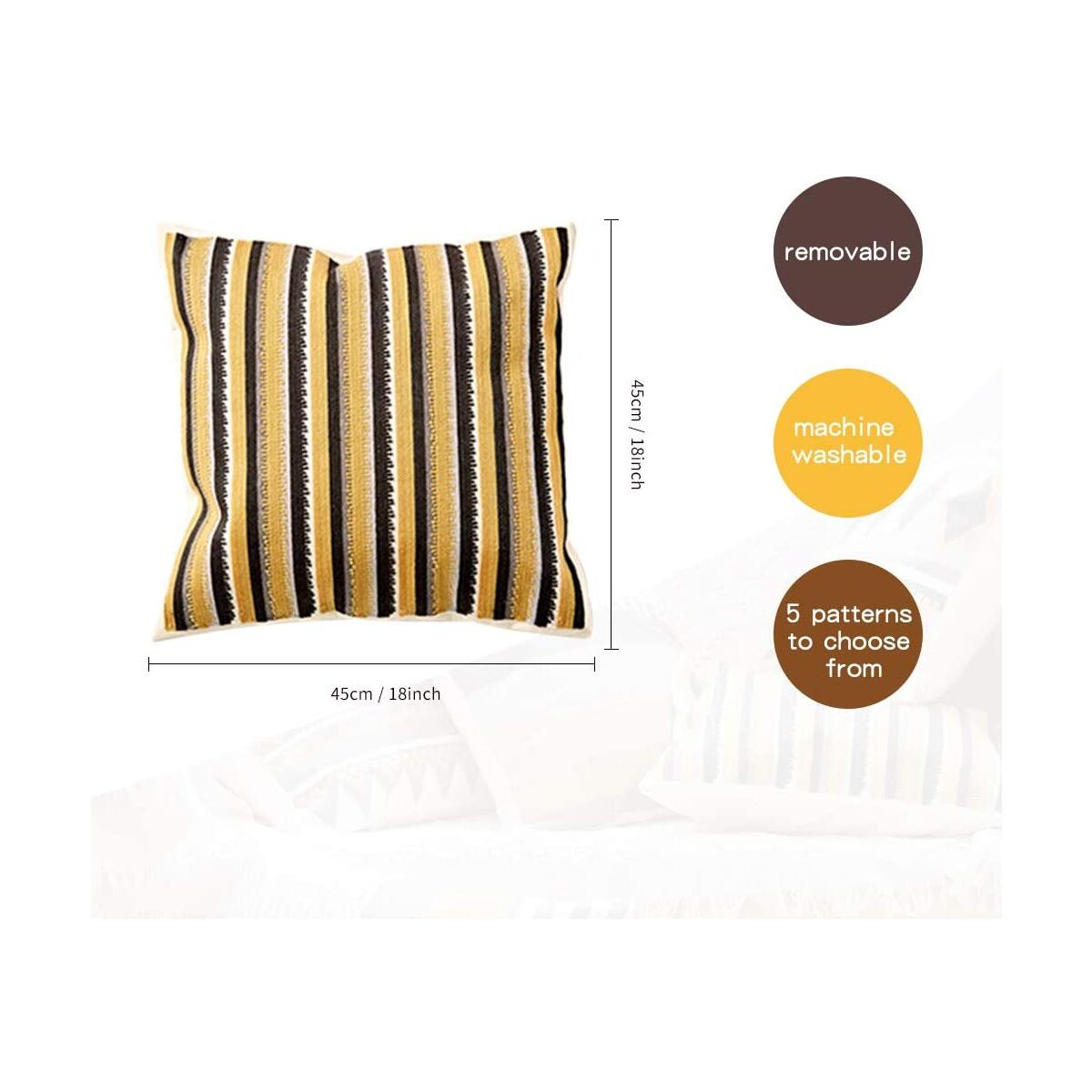「ALL COLOR AVAILABLE」Modern Minimalist Geometric Embroidery Cotton Pillow Cover for Couch , 18 x 18 Inches