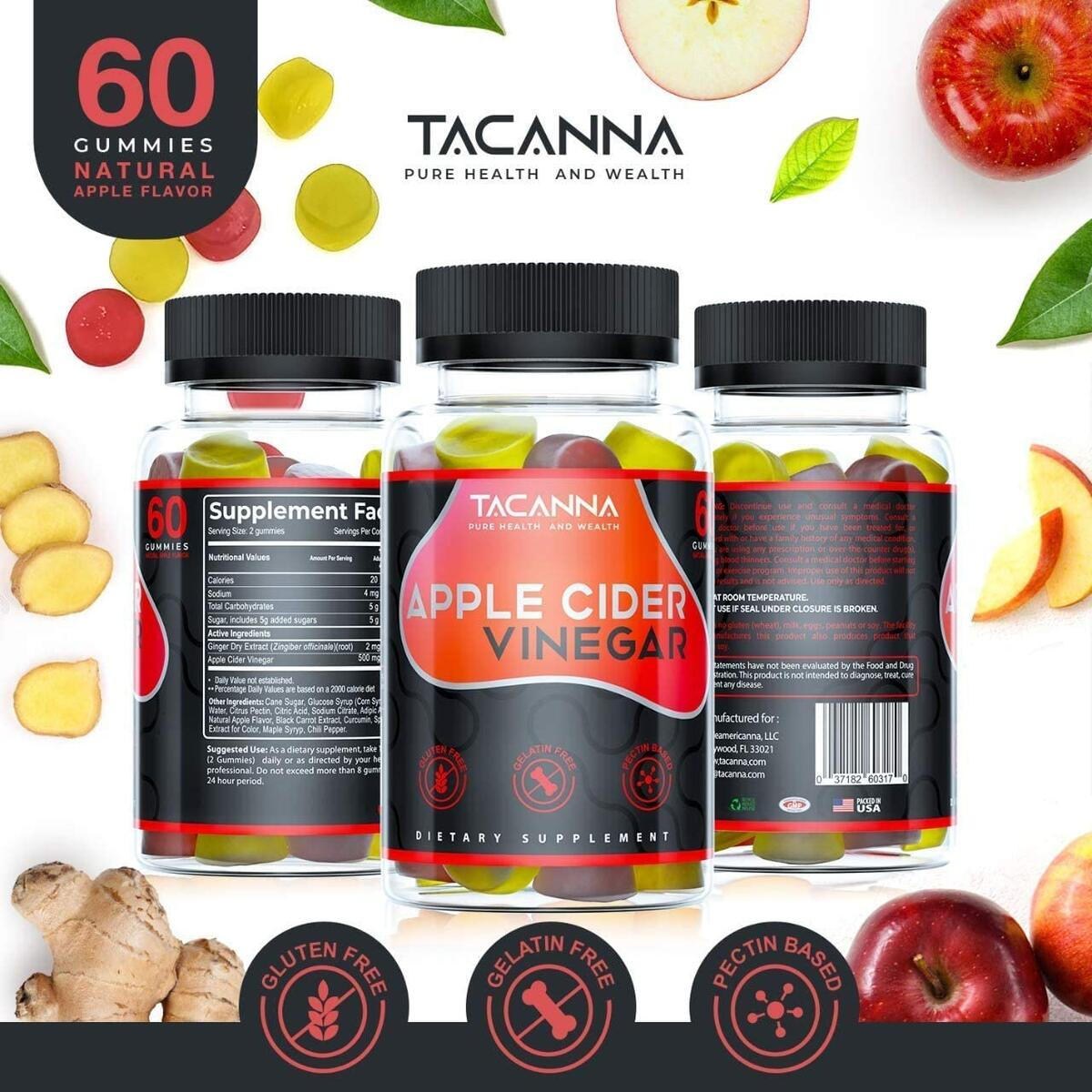 Tacanna Apple Cider Vinegar Gummies All-Natural - [2 Pack] 120 Count, Gluten-Free, Non-GMO - Immunity , Weight , Gentle Colon Cleanse Women, Men, and Kids