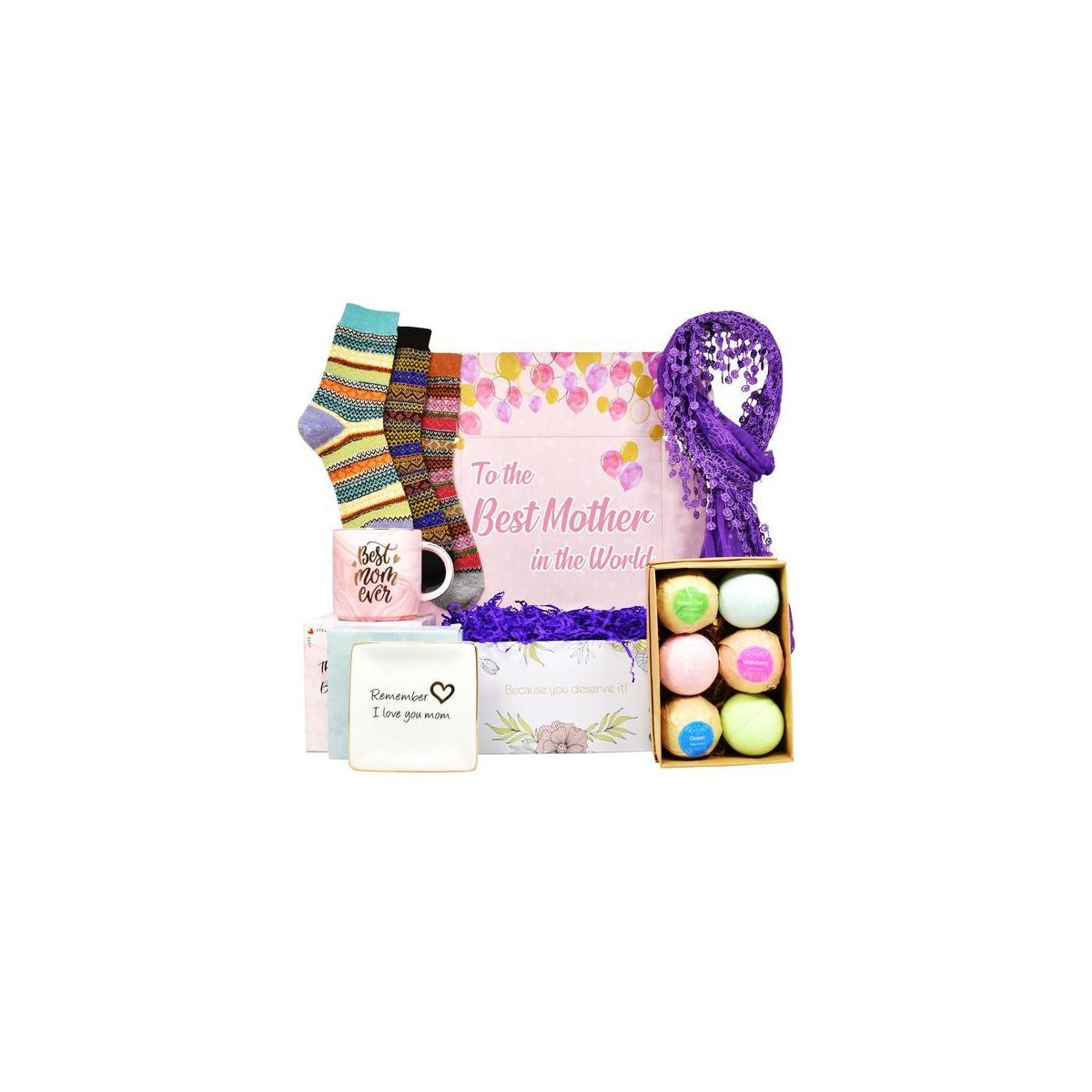 GIFT BASKET - Best Gifts for mom INCLUDES: Coffee Mug, Ring Holders for Jewelry, Bubble Bath for Women, Warm Socks, and Womens Scarves. Best Mom Gifts for Birthda